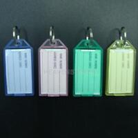 40PCS Plastic Luggage ID Label Key Tags Keychains Key Chain Fobs Ring Name Card