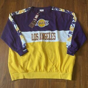 Mitchell & Ness Los Angeles LA Lakers Leading Scorer Fleece Pullover Sz 5XLB New