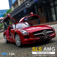 Welly 1:24 Scale Mercedes Benz SLS AMG Red Diecast Model Racing Car Collections