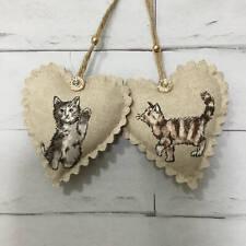 2 Cats Handmade Fabric Hanging Hearts Animal Kittens Shabby Chic Decoration Gift