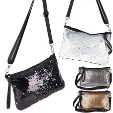 Pailletten Metallic Glitzer Umhänge Abend Tasche Cross Bag  Shopper Clutch Trend