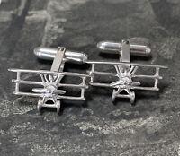 Vintage Silver Tri-plane Cufflinks, Plane Cuff Links, Not Deakin & Francis