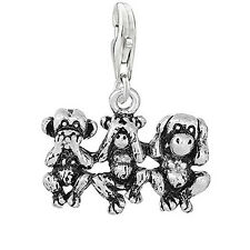 Speak No Evil See No Evil Hear No Evil Monkeys Clip on Pendant Charm for Bracele