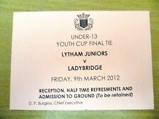 Tickets- 2012 Under 13 Youth Cup FINAL- LYTHAM JUNIORS v LADYBRIDGE, 9th March