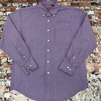 IZOD Men's Size M Purple Plaid Cotton Button Down Long Sleeve shirt #9C6