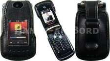 caseroxx Leather-Case with belt clip for Motorola RAZR V8 in black made of real