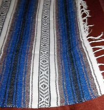 Blue Black Gray Wh Striped Blanket Afghan Lg Throw Made in Mexico 100% Acrylic!!