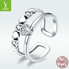 Fashion Women 925 Sterling Silver Open Finger Ring Delicate Heart Band Jewelry