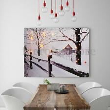 12x16'' LED Lighted~Winter Cabin Canvas Snow Tree Art  Picture Lodge Wall Decor