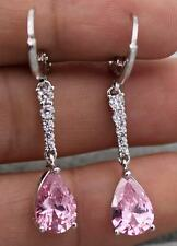 18K White Gold Filled - 1.5'' Waterdrop Pink Topaz Zircon Women Wedding Earrings