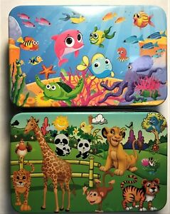 Travel Puzzles - Two sided Jigsaw Puzzle Age 4-8  (2) puzzle set - tin box