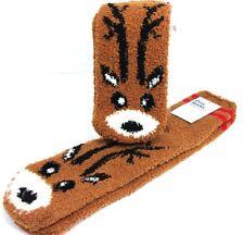 NWT 1 Pair Adult Brown Fuzzy Cozy Socks One Size SANTA'S REINDEER Old Navy