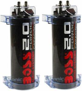 2) Boss CPBK2 2 Farad 20-Volt Digital Voltage Car Audio Power Capacitor, LED
