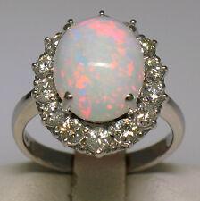 14k oro bianco 5.53ctw GRANDE OVALE OPALE anello W/14 ROTONDO BRILLANTE