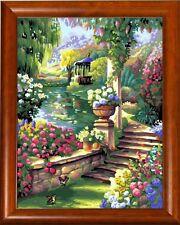 Stickpackung Stickbild Gobelin GARDEN COLOR RAHMEN 30x40 cm sticken Handarbeiten