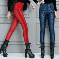 Fashion Warm Winter Womens High Waist Cotton Padded Skinny Pants Casual Trousers