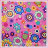 BonEful Fabric FQ Cotton Quilt Rainbow Bright Pink Purple GIRL Hippie Flower DOT