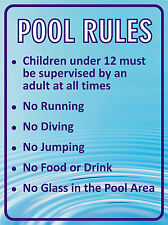 """SWIMMING """"POOL RULES"""" SIGN 30x40cm weatherproof UV stable for fence, glass, wall"""