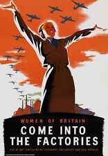 2W27 Vintage WWII Women of Britain Come In To The Factories War Poster WW2 A4