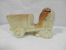 Vintage Pottery Planter, Puppy Pulling a Cart