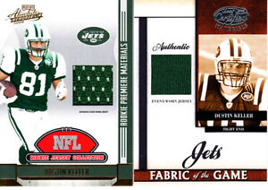 Lot of 3 different Dustin Keller New York Jets 2008 2011 game jersey patch cards
