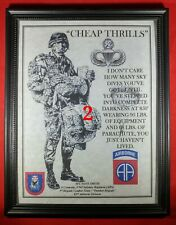 """Mc-Nice: Army Airborne """"Cheap Thrills"""" Paratrooper All Units Framed Personalized"""