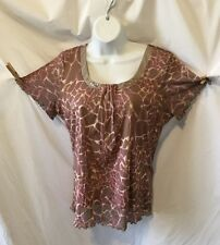 JH COLLECTIBLES (LARGE) Brown & Pink S/S Blouse Pleated And Sequined Neckline