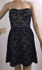 DEB Strapless Lace Dress Navy Blue Nude Lining Short Sexy Mini Bodycon Style - M