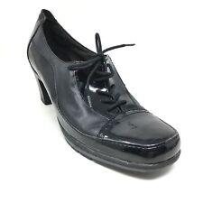 Women's Clarks Bendables Lace Up Clogs Booties Shoes Size 12 Black Leather