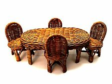 Dollhouse Miniature Oval Table Four Chairs Natural Wicker Doll Furniture