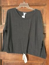 Eberjey Slouchy Tee Heathered Molasses M Pink Bow Tie