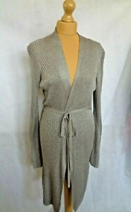 PHASE EIGHT LONG LINE BROWN MARL LIGHT WEIGHT FINE CARDIGAN SIZE 14