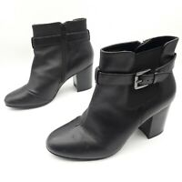 Woman's Ladies Love Leather By George Black Leather Ankle Boots Buckle Zip UK 5