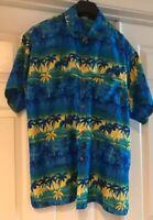 Rima Mens Hawaiian Short Sleeve Shirt Size XL Blue/Yellow Caribbean Style