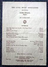 RARE EZIO PINZA CONCERT PROGRAM 1940s CLASSICAL Opera Singer ITALY Italian BASSO