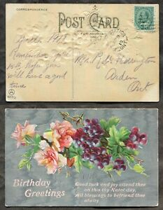KALADAR STATION Ont Lennox/Addington 1910 Split Ring on Postcard    (inv:p01987)