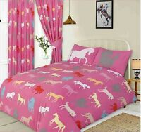 PINK CUTE KIDS HORSES DUVET COVER SET CHOICE SINGLE DOUBLE KING SIZE OR CURTAINS