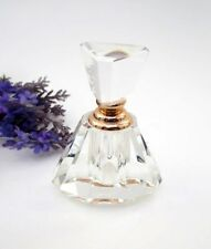 OLEG CASSINI Triangle Crystal Perfume Bottle ~ Crystal Top  Rose Tone ~ New #7