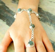 Sklavenarmband & Ring Silber offen Handarbeit Labradorit 19cm Kette Gothic Kette
