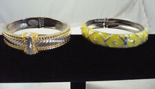 Lot of 2 hinged bangle bracelets gold & silver ribbed & yellow enamel RS accents