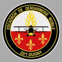 STICKER GENDARMERIE NATIONALE ESCADRON MOBILE 22/1 DUGNY AUTOCOLLANT GA167