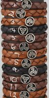 Irish Rounded wristbands with enameled pewter disc in celtic designs