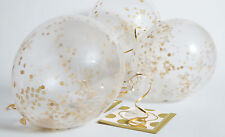 6 x Gold Confetti Filled Balloons Wedding Anniversary Birthday Party Decorations