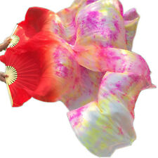New Arrival 100% Real Silk Fan Veils for Belly Dancing Silk Fans Tie-dyed Color