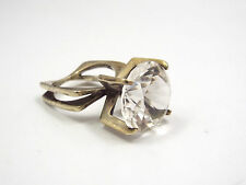 ICO Isaac Cohen Modernist Swedish Sterling Silver Large Quartz Crystal Ring 6.75