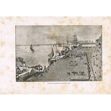 Le Steen Les Nouveaux Quais du Port d'Anvers GRAVURE animée du XIXè Siècle RARE