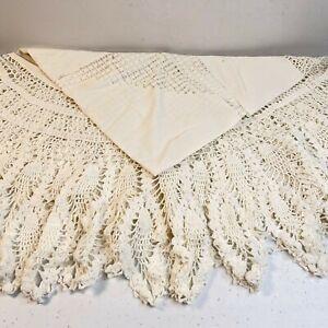 """vintage tablecloth lace round white floral 45"""" crochet trim boho retro classic"""