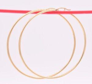 "2mm X 70mm 2 3/4"" Large Plain Shiny Hoop Earrings REAL 14K Yellow Gold 4.4 grams"