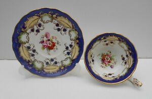 Antique British Tea Cup Saucer Hand Painted Floral Bouquets 19th Century No8
