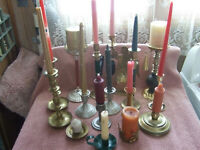 Vintage Large Lot of 16 Quality Brass candle holders few pewter, snifter, angel